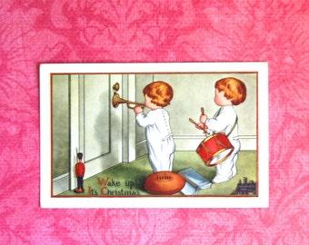 Vintage Christmas Morning Postcard, Children Waking Up Family