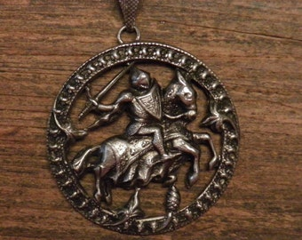 """French vintage silver plated religious medal pendant : Saint Joan of Arc on horse and armor.1.64"""""""