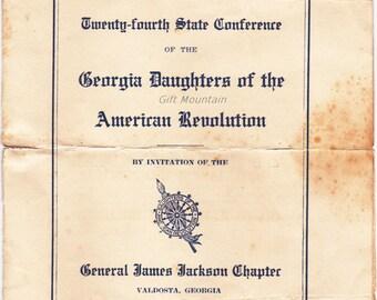 DAR Daughter's Of The American Revolution 1922 Meeting Program/Booklet  State of Georgia