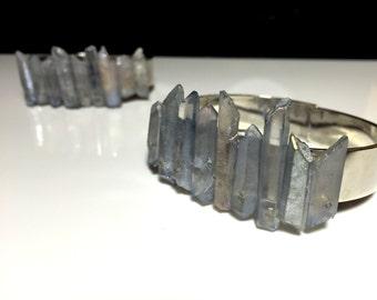Raw Blue Lemurian Quartz Cuff - Healing Stone Bracelet - Gemstone Jewelry - Gifts for Her