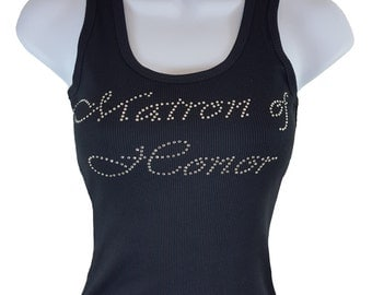 MATRON OF HONOR  Rhinestone Tank Top Black Shirt