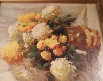 Painting sold by Sears Roebuck. Floral Chrysanthemums. 13x15.