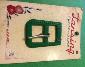 1940's Lansing green Belt Buckle on original card