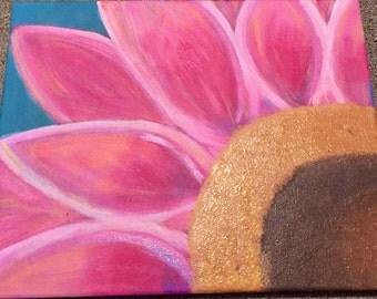 Pink Sunflower Acrylic Painting