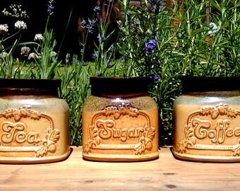 Studio pottery kitchen canister set, Tea coffee sugar canisters, Tea canister, Coffee canister, Sugar canister, Studio pottery kitchen jars