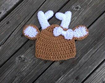 Baby Girl Deer Hat Crochet Baby Deer Hat Newborn Girl Deer Hat Baby Girl Photo Prop Hat Animal Hat