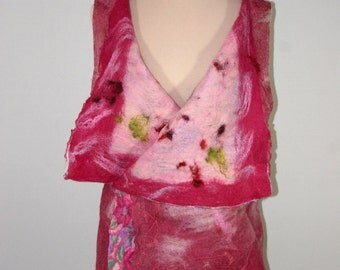 Fuschia Color Nunofelted Vest, Felted Clothing