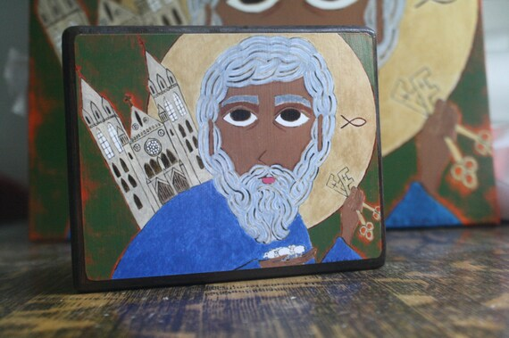 About 5 X 4 inch Saint Peter Folk Byzantine Icon print on wood