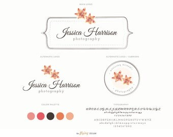 Watercolor Mini Floral Frame Logo Design Branding Package Kit - Floral Logo for Photographers, Modern Photography Fashion Blog Logo Design