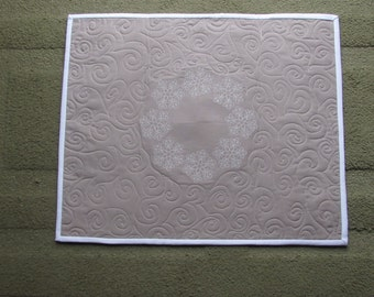 Embroidered Snowflake Quilt/Wall Art Quilt/Large Snowflake Quilt/Grey Quilt