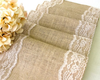 Burlap Table runner with dusty hay country lace table runner Wedding Linens Rustic Wedding vintage wedding overlays, handmade in the USA,