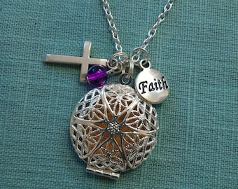 Our Faith is in the cross-Diffuser necklace for essential oils