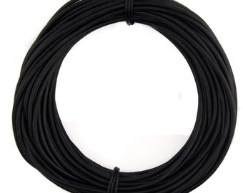 Black Natural Dye Round Leather Cord 1.5mm 100 meters (109 yards)