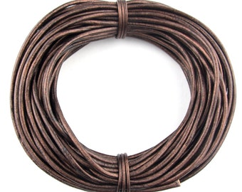 Brown Natural Dye Distressed Round Leather Cord 1.0mm 10 meters 11 yards