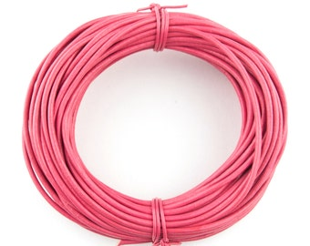 Pink Round Leather Cord 2mm, 10 meters (11 yards)