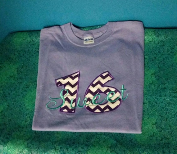 Sweet 16 tshirt - embroidered sweet 16 shirt - custom embroidered 16th birthday shirt - sweet 16 - Birthday gift