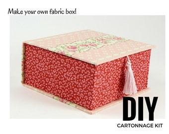 Fabric box DIY kit, fabric covered box kit, cartonnage kit, square box (DIY kit 106)