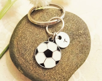 "SOCCER KEYCHAIN - soccer zipper pull - with initial or number charm - Read ""item details"" below and see all photos"