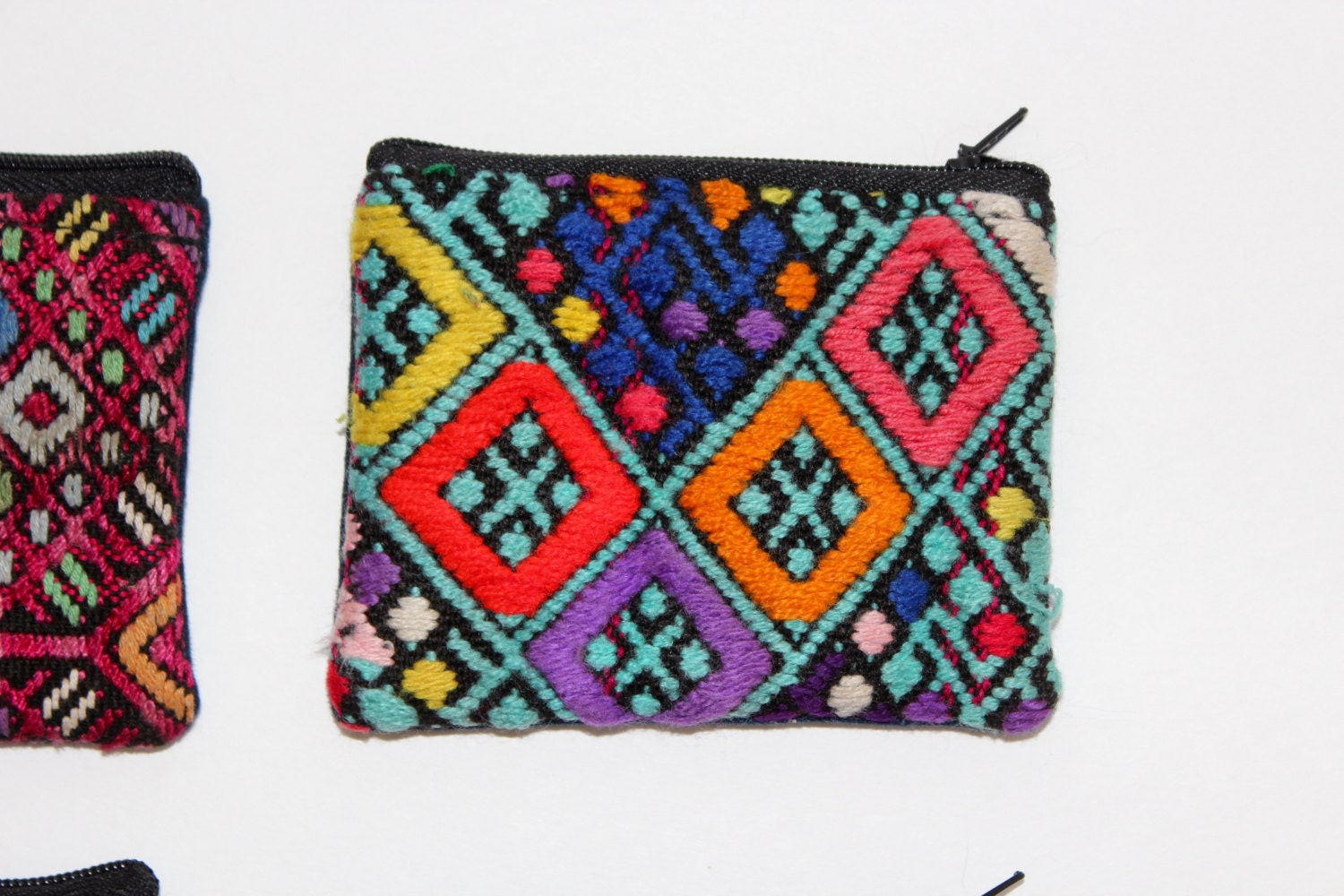 Mexican embroidered coin purse colorful wallet huipil