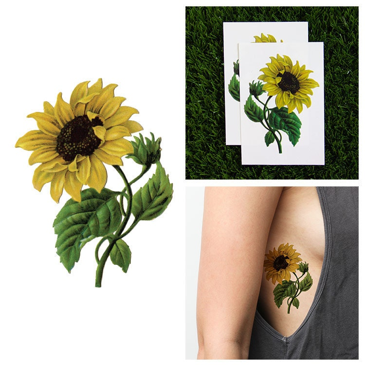 Tattify sunflower temporary tattoo sunny disposition set of for Sunflower temporary tattoo