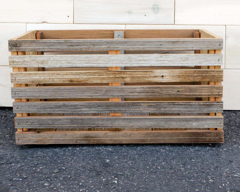 barn wood slat crate 16 x 12 x 9 With barnwood slats