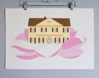 """Magnolia Manor Print- 18""""x24"""" Screen Printed Illustration Southern Style House in Flower"""