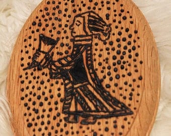 Pyrography Valkyrie on Wooden Oval Plaque