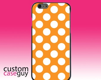 Hard Snap-On Case for Apple 5 5S SE 6 6S 7 Plus - CUSTOM Monogram - Any Colors - White & Orange Polka Dots