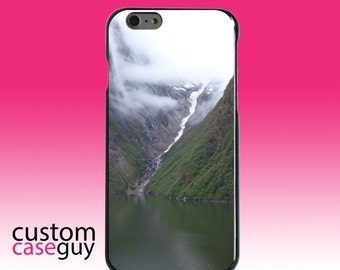 Hard Snap-On Case for Apple 5 5S SE 6 6S 7 Plus - CUSTOM Monogram - Any Colors - Tracy Arm Fjord Waterfall