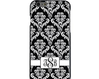 Hard Snap-On Case for Apple 5 5S SE 6 6S 7 Plus - CUSTOM Monogram - Any Colors - Black White Damask Ribbon