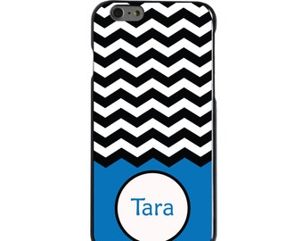 Hard Snap-On Case for Apple 5 5S SE 6 6S 7 Plus - CUSTOM Monogram - Any Colors - Black White Chevron Blue Name