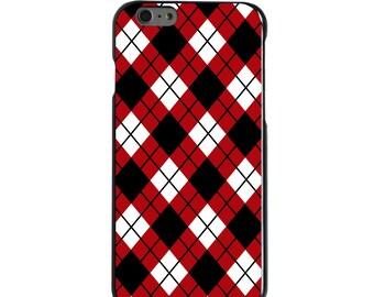 Hard Snap-On Case for Apple 5 5S SE 6 6S 7 Plus - CUSTOM Monogram - Any Colors - Georgia UGA Bulldogs Dawgs Colors - Argyle Pattern