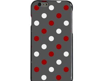 Hard Snap-On Case for Apple 5 5S SE 6 6S 7 Plus - CUSTOM Monogram - Any Colors - Alabama Crimson Tide Color - Bama - Polka Dots Pattern