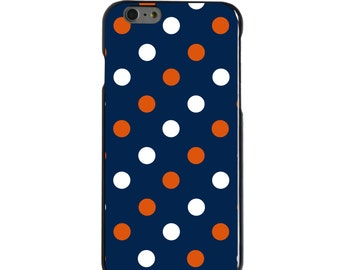 Hard Snap-On Case for Apple 5 5S SE 6 6S 7 Plus - CUSTOM Monogram - Any Colors - Auburn Tigers Colors - War Eagle - Polka Dots Pattern