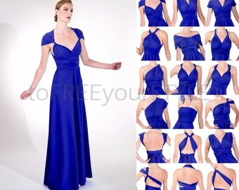 Long convertible dress in ROYAL blue matte, A-LINE Free-Style Dress, long infinity bridesmaid dress, infinity dress, wrap dress, formal gown