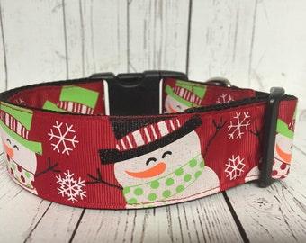 "Christmas, Snowman, Winter, 1.5"" Dog Collar"