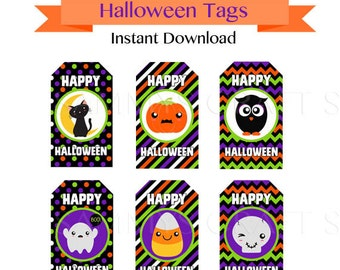 Printable Halloween Tags, Instant Download, Halloween Gift Tags Favor Tags, DIY Happy Halloween Tags FREE Cupcake Wrappers