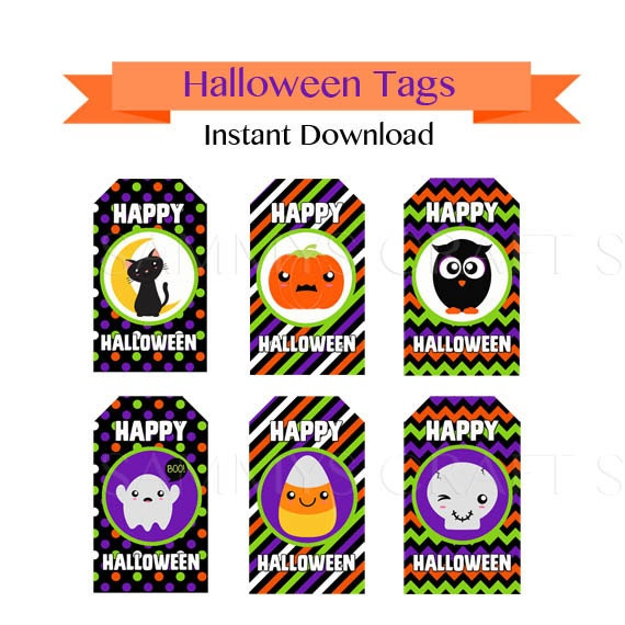 printable halloween tags instant download halloween gift tags favor tags diy happy halloween tags free cupcake wrappers - Halloween Gift Tag