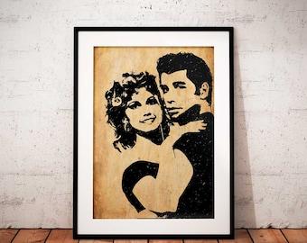 John Travolta Grease Movie poster Print Home Wall Art Decor - classic movie poster print