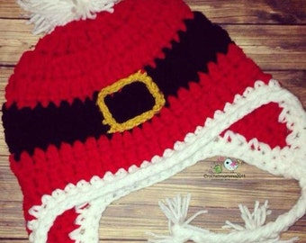 Crochet santa belt hat