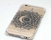 Instock-Black Crescent Moon Mandala Phone Case iPhone 6 plus or 6s Plus 1 Piece Case