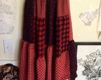 Vintage Red Flannel Skirt