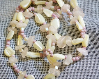 Carol Dauplaise Vintage Necklace -  Lavender Bead Necklace - Mother of Pearl and Quartz Chips - Fashion Accessory