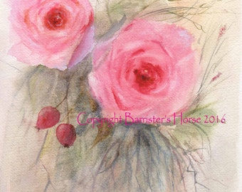ROSES, fine art, Giclee Watercolour Painting Print A4. Archival quality inks