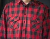 Red Checked Flannel Shirt - Plaid Tartan Boyfriend Shirt - 90s Grunge Flannel Shirt - Red Black Plaid Hipster Shirt Size L - Christmas Shirt
