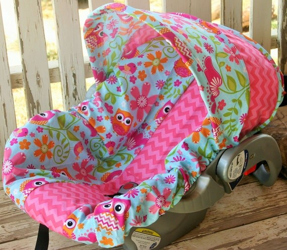 owls and pink chevron infant car seat cover and hood cover. Black Bedroom Furniture Sets. Home Design Ideas