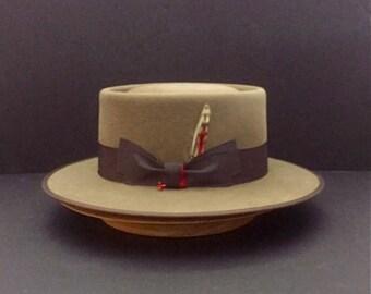 Pork Pie Fur Felt Hat Size 7 3/8
