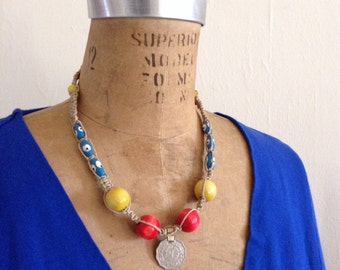 Coin and bead necklace