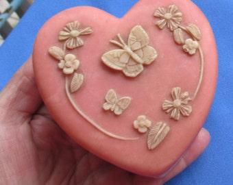 Vintage Heart Shaped Butterfly  Flower  Trinket Box TLC