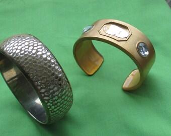 Lot Of Retro Cuff Bangle Bracelets One Missing Cabochon